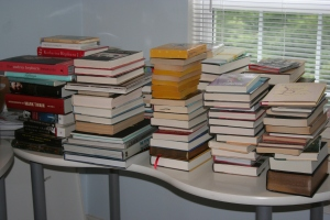 a few stacks waiting to be shelved